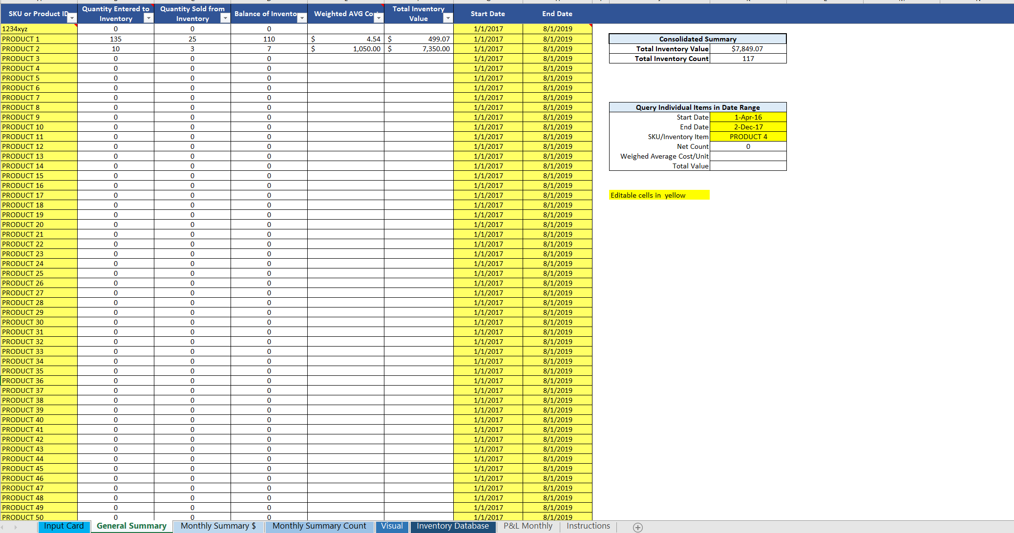Inventory Management Template in Excel: Single Location