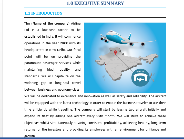 Business Plan of an Airline Business