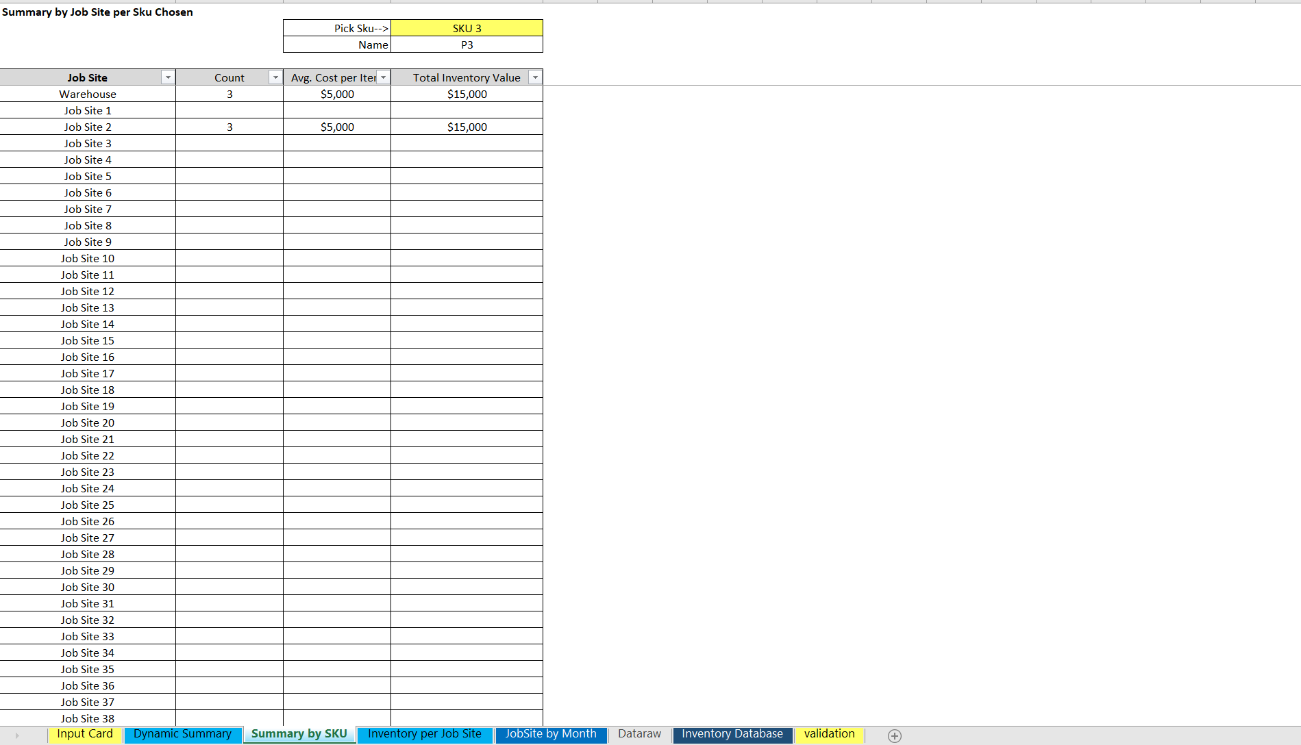 Inventory Tracking in Excel: Warehouse + Up to 499 Locations / 500 SKUs