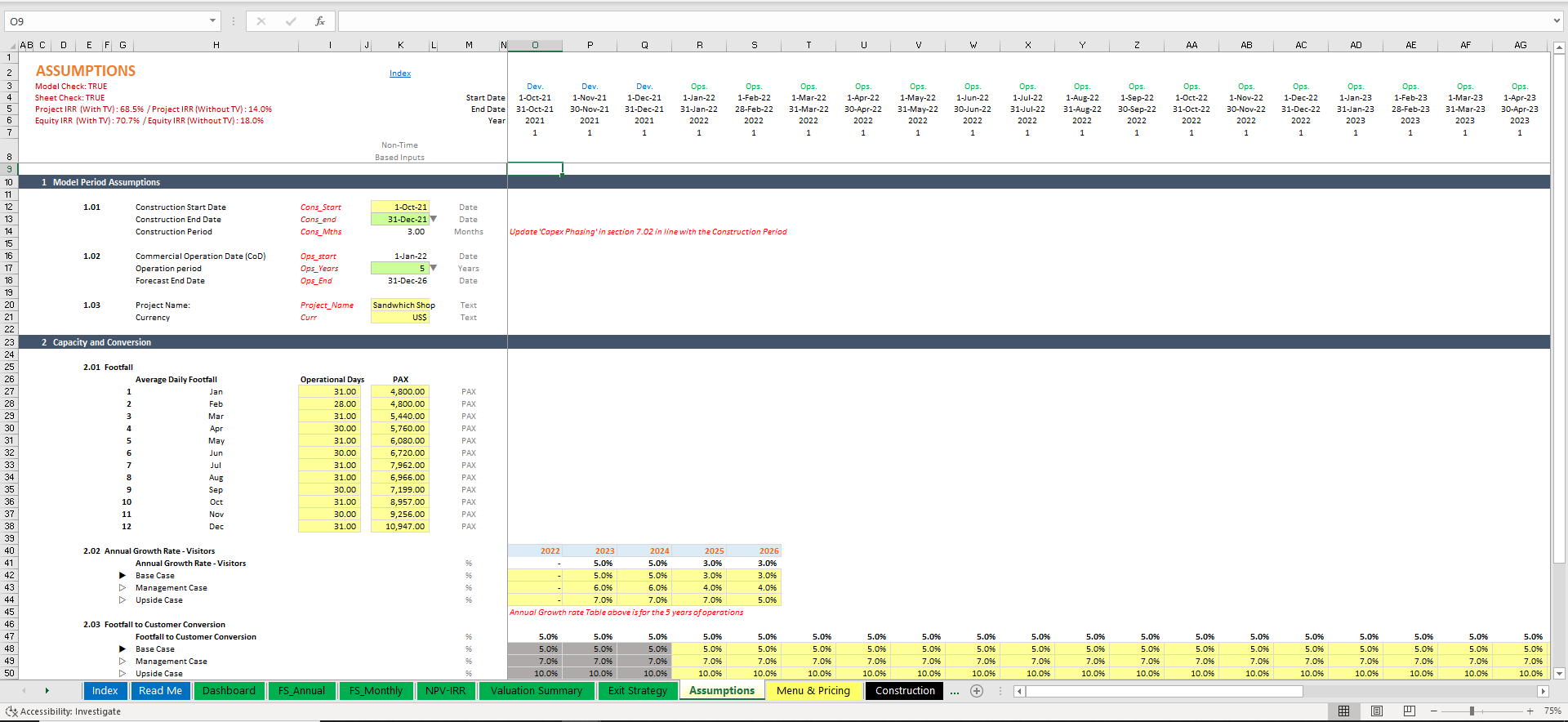 Pizzeria - 3 Statement Financial Model with 5 years Monthly Projection and Valuation