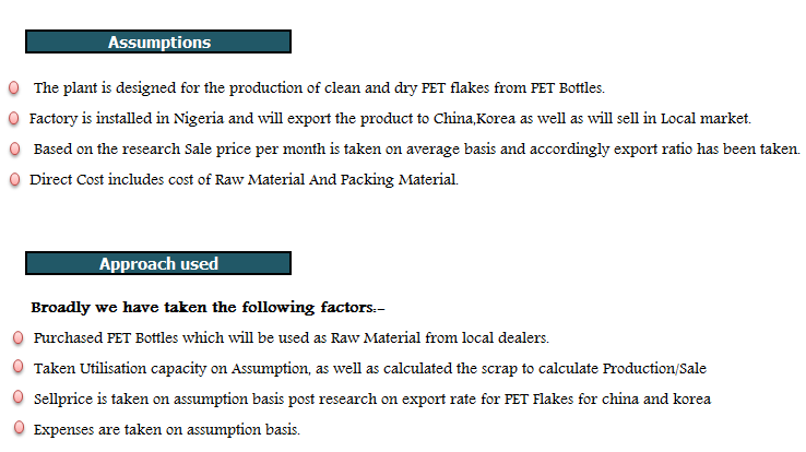 Financial Model of PET Flakes Business
