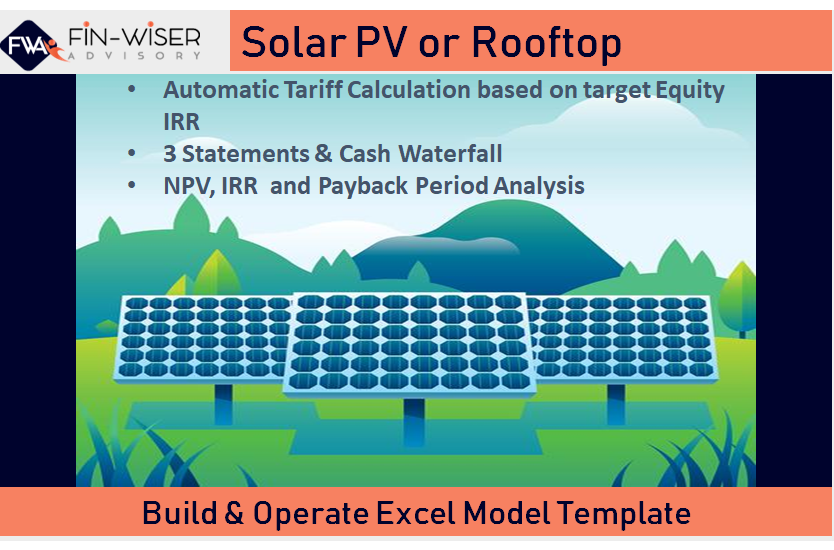 Solar Farm Development Model with Integrated Financial Statement,  Cash Waterfall and Automated Tarriff