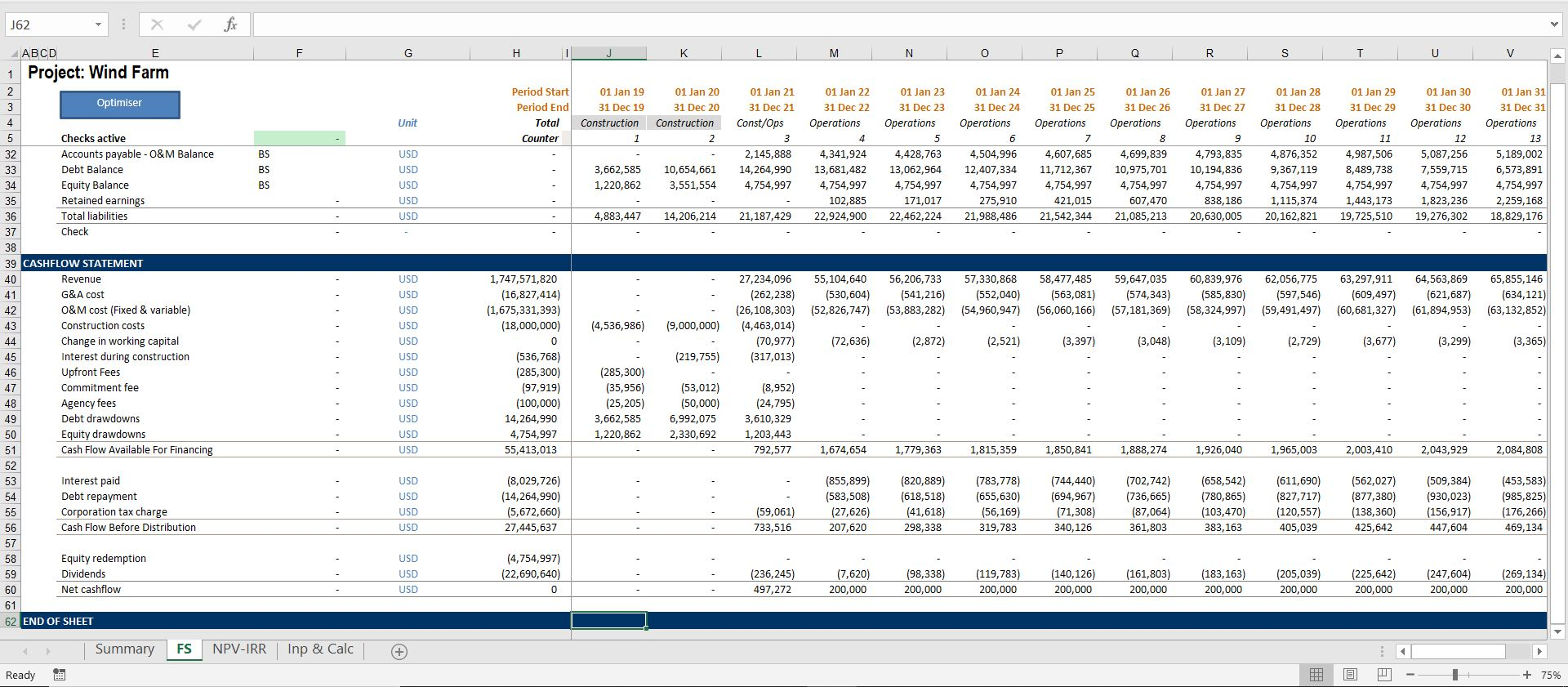 Wind Farm Development Model with Integrated Financial Statement,  Cash Waterfall and Automated Tariff