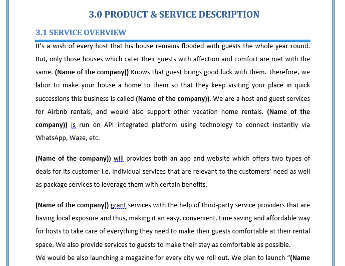Business Plan of a Host and Guest Services Company for Vacation Home Rental Customers