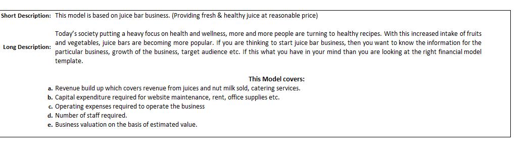 Financial Model a Cold Pressed Juice Bar
