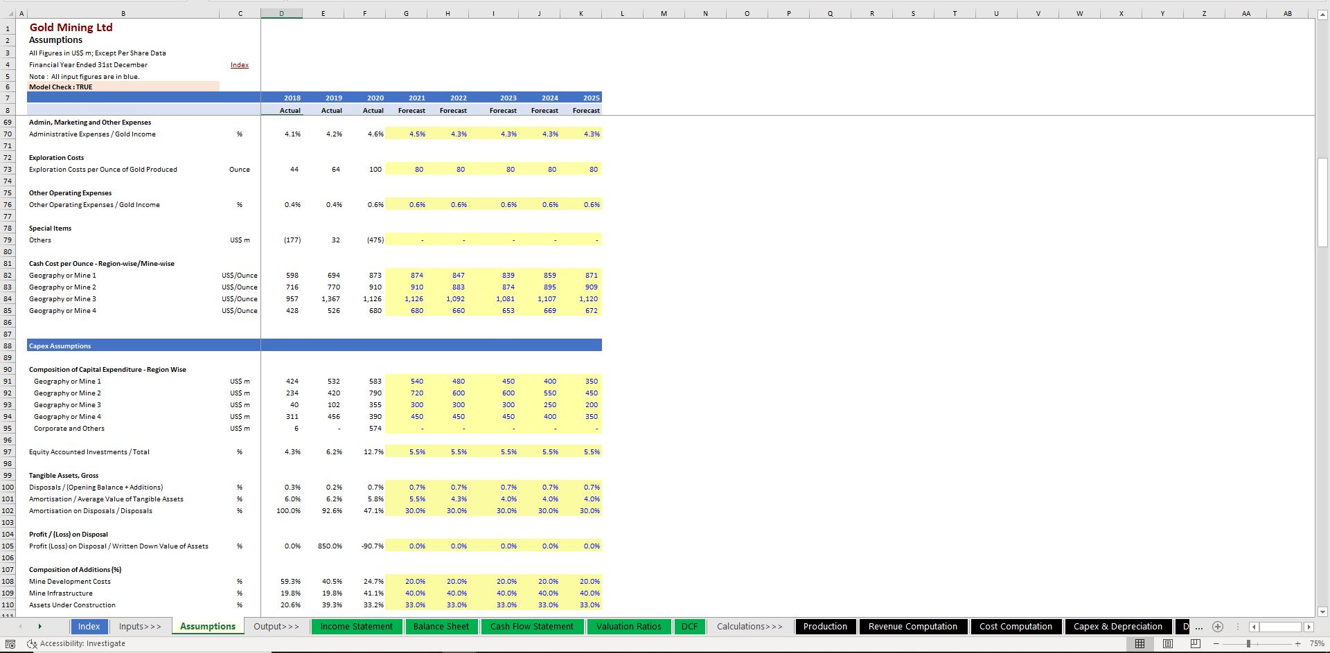 Gold Mining Company - Discounted Cash Flow DCF Valuation Model Template